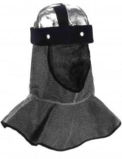 Ritter-Kopfbedeckung Ritterhelm mit Kettenkapuze grau-silber-schwarz
