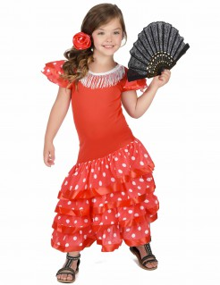 Flamenco-Tänzerin Spanierin Länderkostüm für Kinder rot-weiss