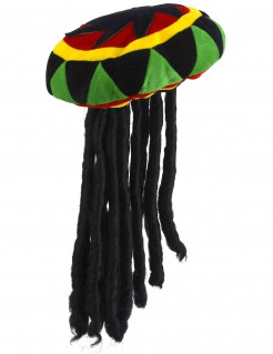 Rastafari-Hut mit Dreadlocks bunt-schwarz