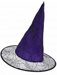 Hexenhut mit Spinnennetzen Halloweenhut lila-schwarz