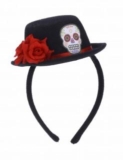 Tag der Toten Haarreif mit Mini-Hut schwarz-bunt