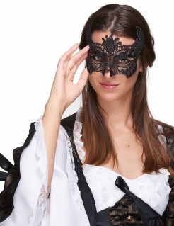 Venezianische Augenmaske Ornamente schwarz