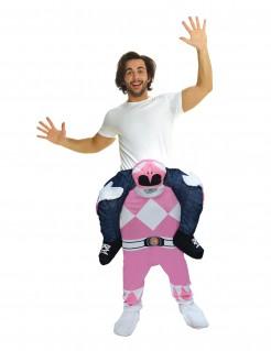Power Rangers™ Carry-Me Kostüm von Morphsuits™ für Erwachsene rosa