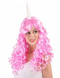 Einhorn-Perücke für Damen Kostüm-Accessoire pink-weiss