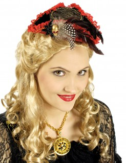 Mini-Piratenhut für Damen Kostüm-Accessoire schwarz-rot