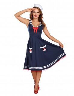 Matrosinnen-Kleid Seefahrerin-Damenkostüm marineblau-weiss-rot