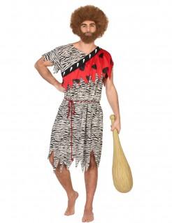 Steinzeitmensch-Kostüm Höhlenmensch-Verkleidung weiss-schwarz-rot