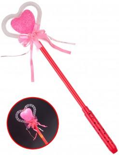 Zauberstab leuchtend mit Herz rot pink rosa 42cm