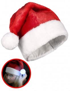 Nikolaus Weihnachts-Mütze mit leuchtendem Bommel