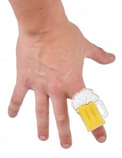 Bierkrug-Ring mit Leuchteffekt Oktoberfest-Accessoire gelb