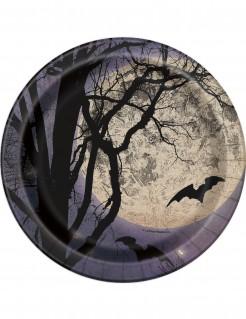 Halloween Pappteller Vollmond und Fledermäuse Halloween-Tischdeko 8 Stück schwarz-blau-weiss 18cm