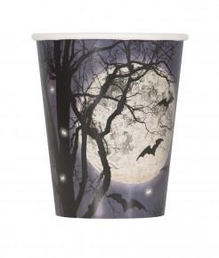 Halloween Pappbecher Vollmond und Fledermäuse Halloween-Tischdeko 8 Stück schwarz-weiss-blau 266ml