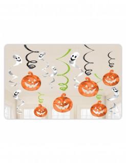 Halloween-Hängespiralen Kürbisse und Geister 12 Stück orange-weiss