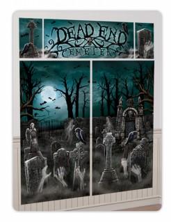 Gruseliger Friedhof Wanddeko-Set für Halloween 5-teilig bunt