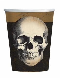 Totenschädel-Pappbecher Halloween-Tischdeko 10 Stück schwarz-braun-beige 266ml