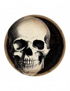 Totenschädel-Teller Halloween-Tischdeko 10 Stück schwarz-beige-braun 23cm
