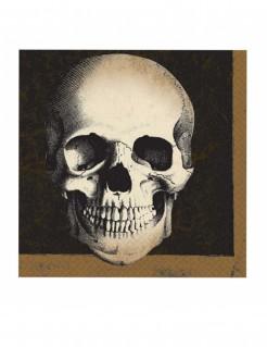 Totenschädel-Servietten Halloween-Tischdeko 20 Stück beige-braun-schwarz 33x33cm