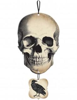 Totenschädel und Rabe Halloween-Hängedeko