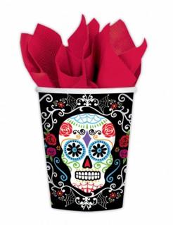 Sugar-Skull-Becher Tag der Toten Becher 10 Stück schwarz-bunt 266ml