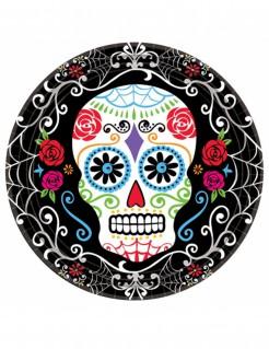 Sugar-Skull-Teller Tag der Toten Tischdeko 10 Stück schwarz-bunt 23cm