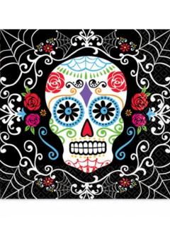 Sugar-Skull-Servietten Tag der Toten Tischdeko 20 Stück schwarz-bunt 33x33cm