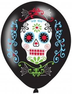 Sugar-Skull-Ballons Tag der Toten Deko 6 Stück schwarz-bunt