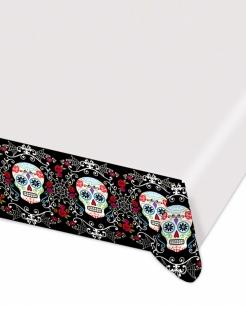 Sugar-Skull-Tischdecke Tag der Toten weiss-schwarz-bunt 140x260cm
