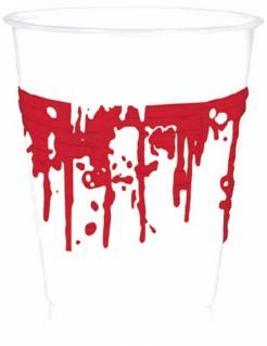 Blutige Horror-Becher Halloween-Tischdeko 10 Stück weiss-schwarz 200ml