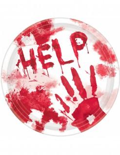 Blutige Halloween-Teller Horror-Tischdeko 10 Stück weiss-rot 23cm
