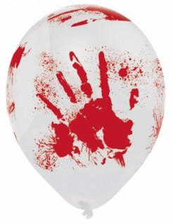 Blutige Halloween-Luftballons Horrorballons 6 Stück weiss-rot