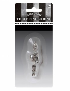 Skelett-Ring Dreifinger-Ring für Halloween silber