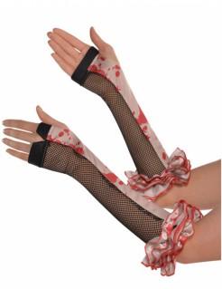 Blutige Halloween-Handschuhe mit Netzeinsatz Kostümaccessoire schwarz-beige-rot