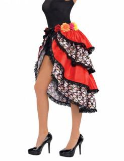 Tag der Toten Damenrock Halloween mit Totenköpfen und Rosen bunt