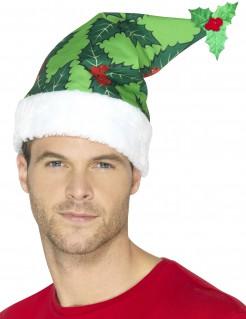 Weihnachtsmütze Stechpalme Wichtelmütze grün-weiss-rot