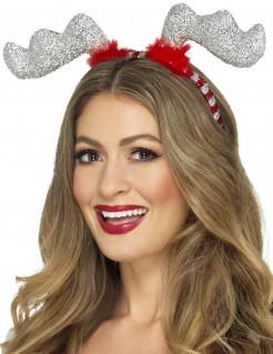 Rentier-Haarreif mit Pailletten Weihnachts-Accessoire für Erwachsene