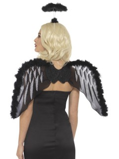 Schwarzer Engel mit Flügeln und Heiligenschein für Erwachsene