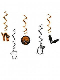 Halloweenspiralen Kinderhalloween-Deko 5 Stück orange-schwarz-weiss 60cm