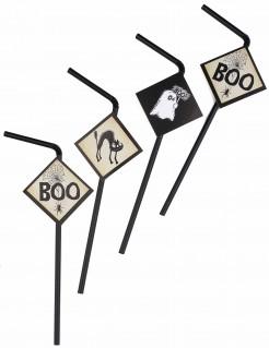 Gruselige Strohhalme mit Halloween-Motiven 6 Stück schwarz-beige-weiss 24cm