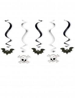 Halloween-Spiralen Fledermäuse und Totenköpfe 5 Stück schwarz-weiss 60cm