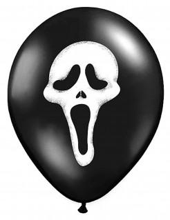 Schreiender Geist Luftballons Halloweenballons 6 Stück schwarz-weiss 30cm