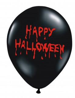 Happy Halloween blutige Latex-Luftballons 6 Stück schwarz