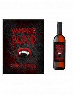 Vampir-Flaschenetiketten Halloweendeko 10 Stück schwarz-rot-weiss 9,5x12,5cm