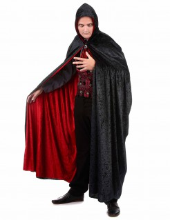 Vampir Wende-Umhang mit Kapuze Halloween-Accessoire schwarz-rot