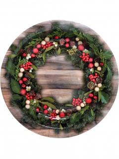 Weihnachtskranz-Teller Tischdeko 8 Stück braun-grün-rot 23cm