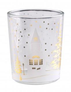 Weihnachtsliches Dorf Teelicht-Glas