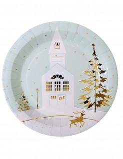 Weihnachtslandschaft Pappteller 10 Stück weiss-gold 23cm