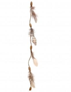 Hänge-Girlande mit Federn Indianer-Deko Traumfänger braun 116cm