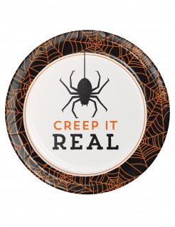 Halloween Teller mit Spruch 8 Stück weiß-orange-schwarz 18 cm
