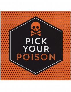 Papierservietten Halloween mit Spruch 16 Stück schwarz-orange 16,5 x 16,5cm