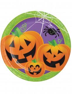 Halloween-Pappteller mit Kürbissen 8 Stück 23cm